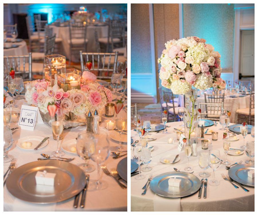 Pink and White Wedding Centerpieces with Nautical Table Numbers   Sandpearl Wedding Reception