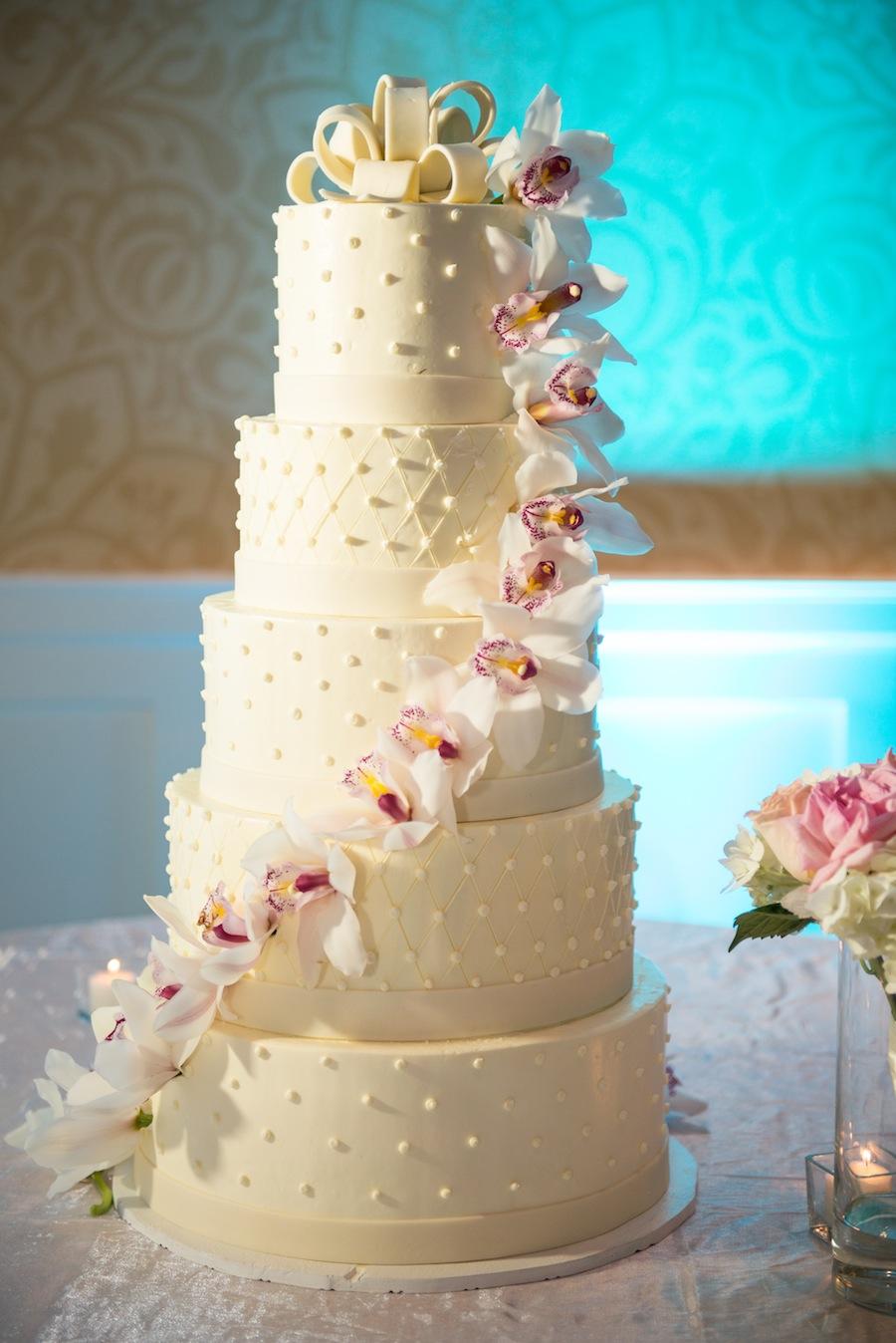 5 Tier Round White Wedding Cake With Flowers Tall Wedding Cake