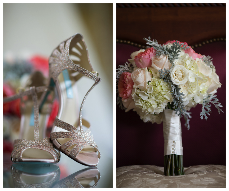 Glitter Wedding Shoes | Pink, Peach and White Rustic Wedding Bouquet