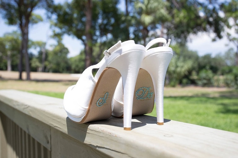 White Wedding Shoes | I Do Rhinestone Sticker Bottoms