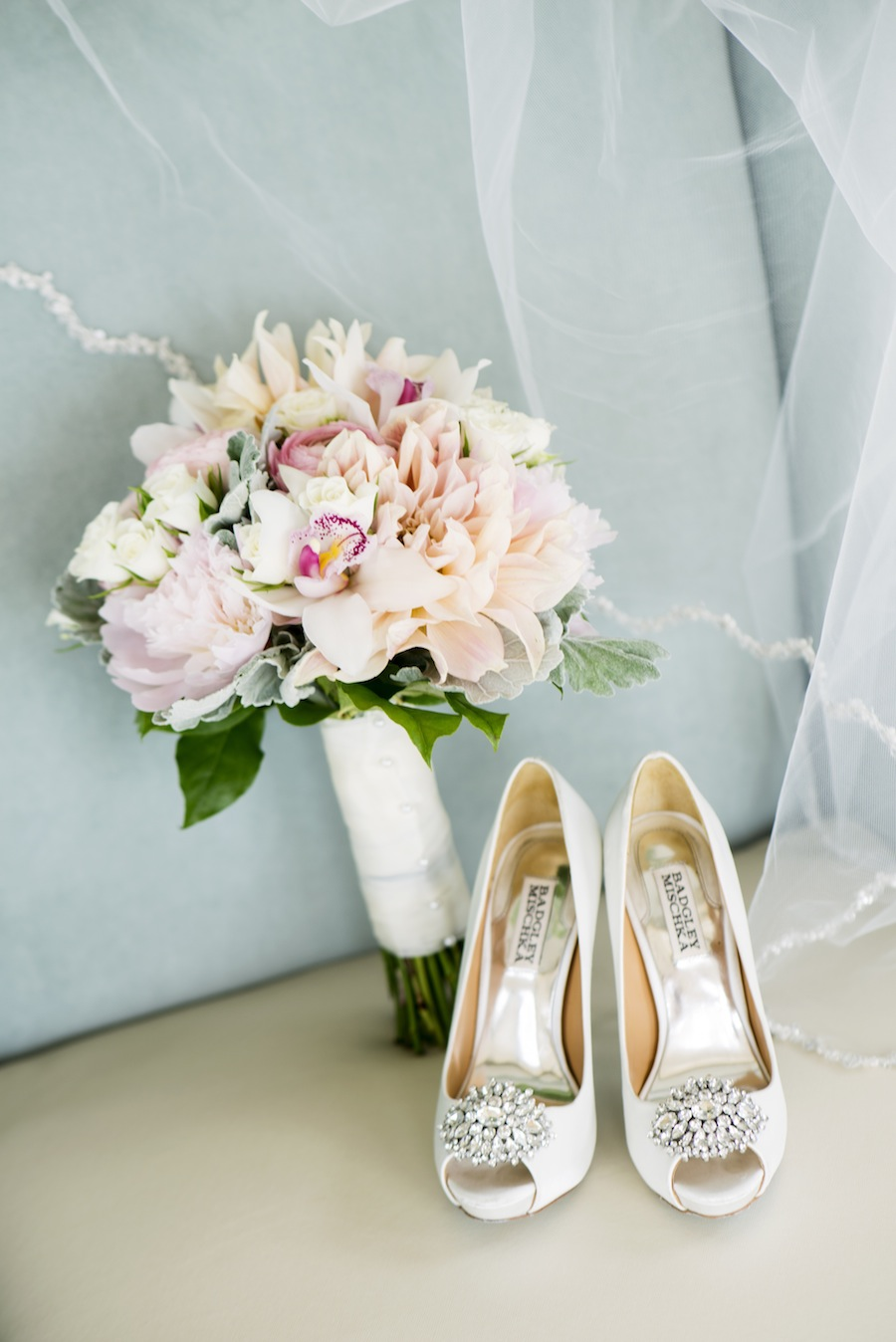 Badgley Mischika White Wedding Shoes with Rhinestones   Pastel Pink and Peach Wedding Bouquet