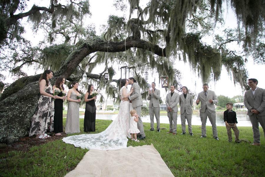 Rustic Backyard Wedding Ceremony Under Tree   Tarpon Springs Wedding   St. Pete Wedding Photographer Lisa Otto Photography