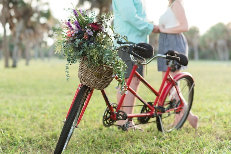 Vintage Ft. De Soto Engagement Session with Bicycle | Caroline & Evan Photography