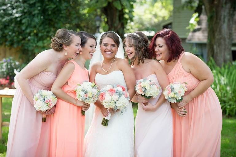 Peach, Pink Bridesmaid Dresses