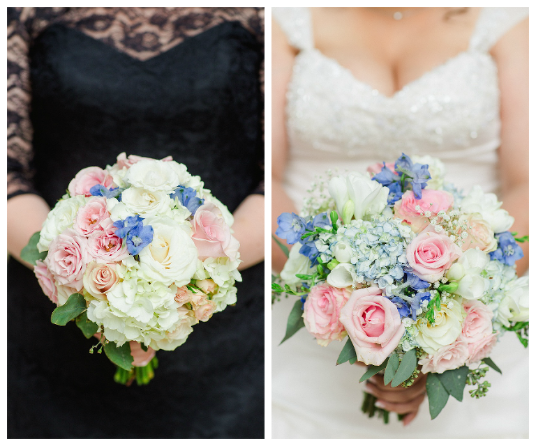Black Bridesmaid Dresses & Maggie Sottero Wedding Dress | Blush Pink and Blue Wedding Bouquet by Andrea Layne Floral Design