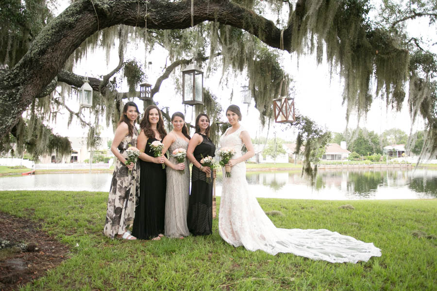 Black Bridesmaid Dresses   Rustic Backyard Wedding with Vintage, Lace Wedding Dress