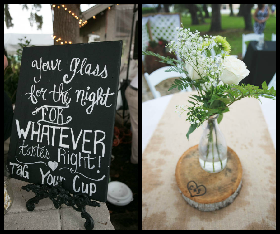 Chalkboard Sign and Simple Centerpiece   Rustic Wedding Reception Decor