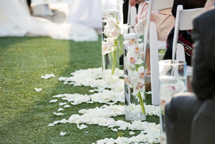 White Wedding Aisle Flowers in Water   Wedding Ceremony Decor