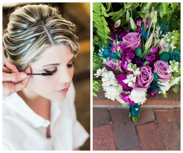Purple and Teal Peacock Themed Wedding Bridal Bouquet