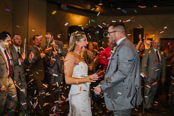 Wedding Reception Confetti   Downtown Tampa Wedding Straz Center Wedding Reception