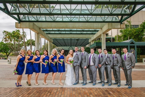 Blue Bridesmaid Dresses   Grey Groomsmen Suits   Straz Center Wedding