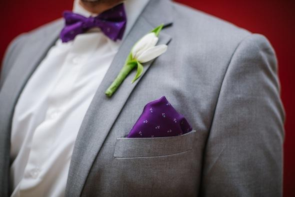 Grey Groom's Suit with Purple Bowtie and Handkerchief