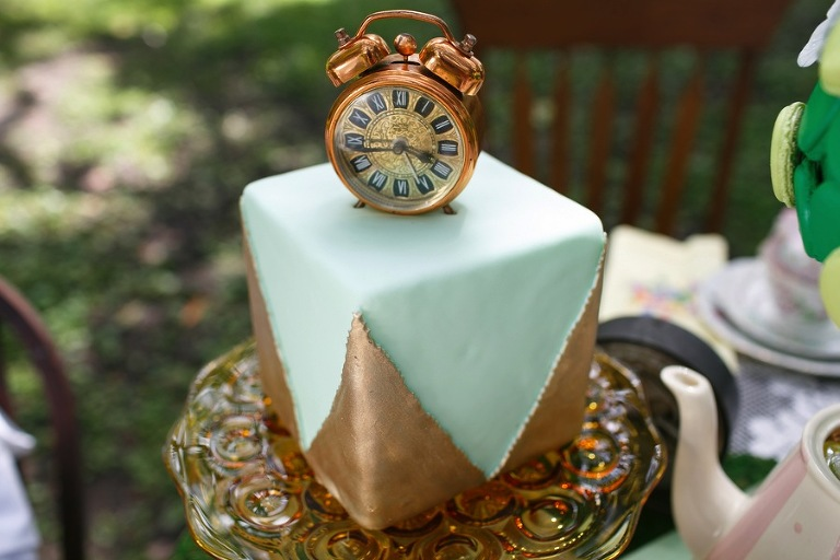 Alice in Wonderland Tea Party Clock Wedding Cake | Tampa Wedding Venue USF Botanical Gardens | Chefin Pastries