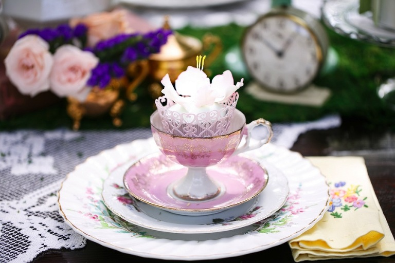 Alice in Wonderland Vintage Tea Party China Wedding Decor | Tampa Wedding Venue USF Botanical Gardens | Tufted Vintage Rentals