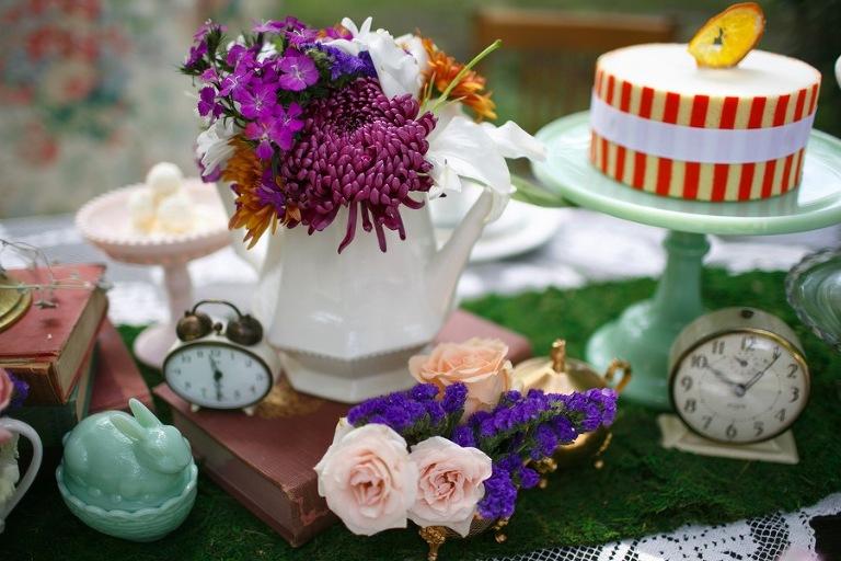 Alice in Wonderland Bridal Pary Wedding Decor | Tampa Wedding Venue USF Botanical Gardens | Chefin Pastries