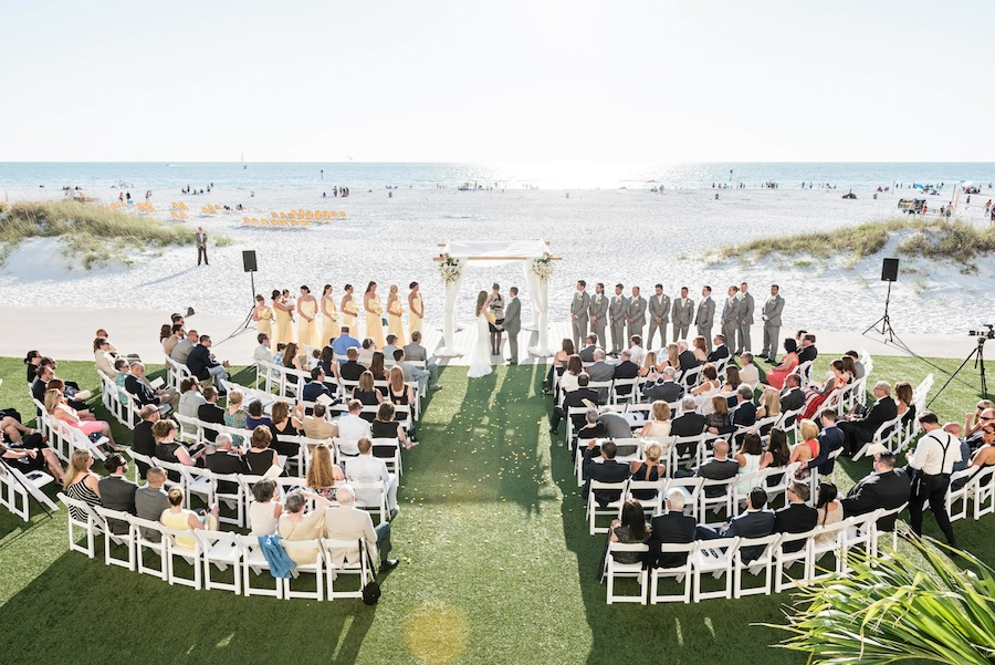 Destination Clearwater Beach Wedding Yellow And Grey