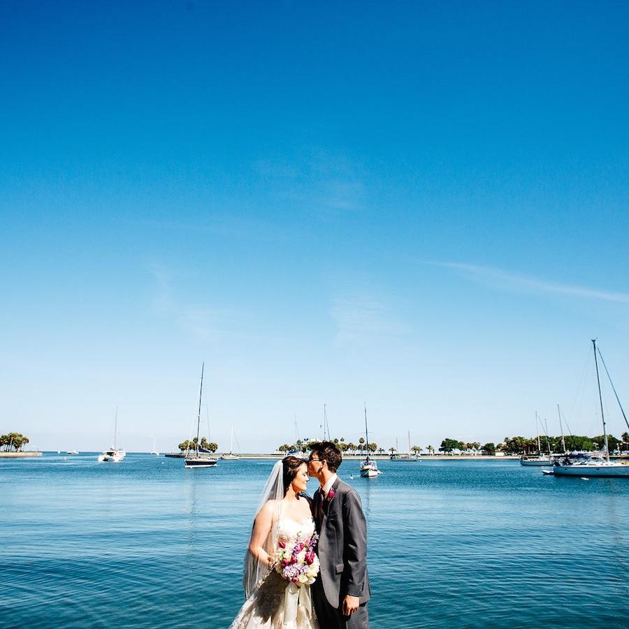 Downtown St. Pete Wedding Portrait | St. Petersburg Bride and Groom
