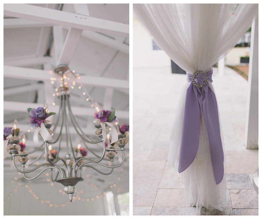 Purple And Lavender Wedding Reception Decor Chandelier And Draping