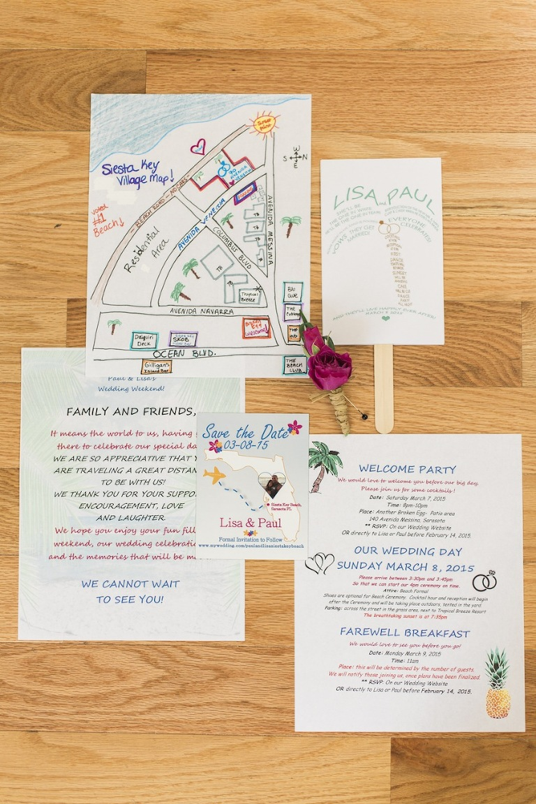 Tropical Beach Wedding Welcome Kit with Map