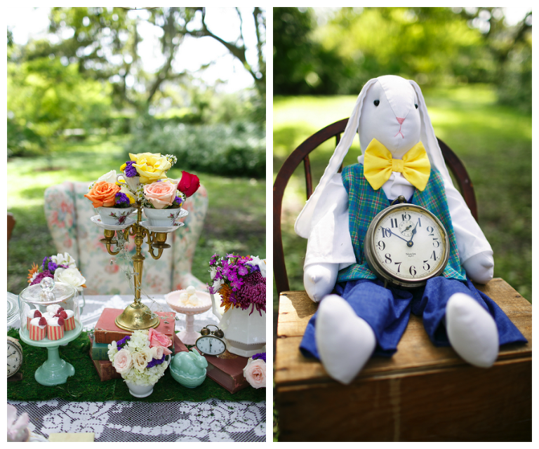 Alice in Wonderland Pink Centerpieces and White Rabbit Wedding Decor | Tampa Wedding Venue USF Botanical Gardens | Carrie Wildes Photography