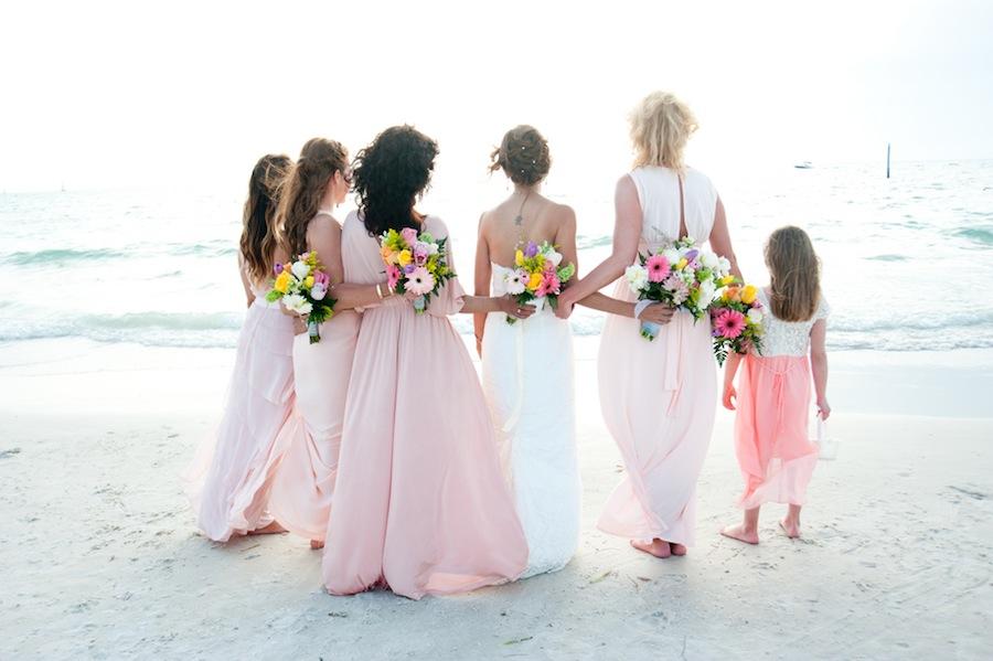 Pink Bridesmaid Dresses | Clearwater Beach Wedding
