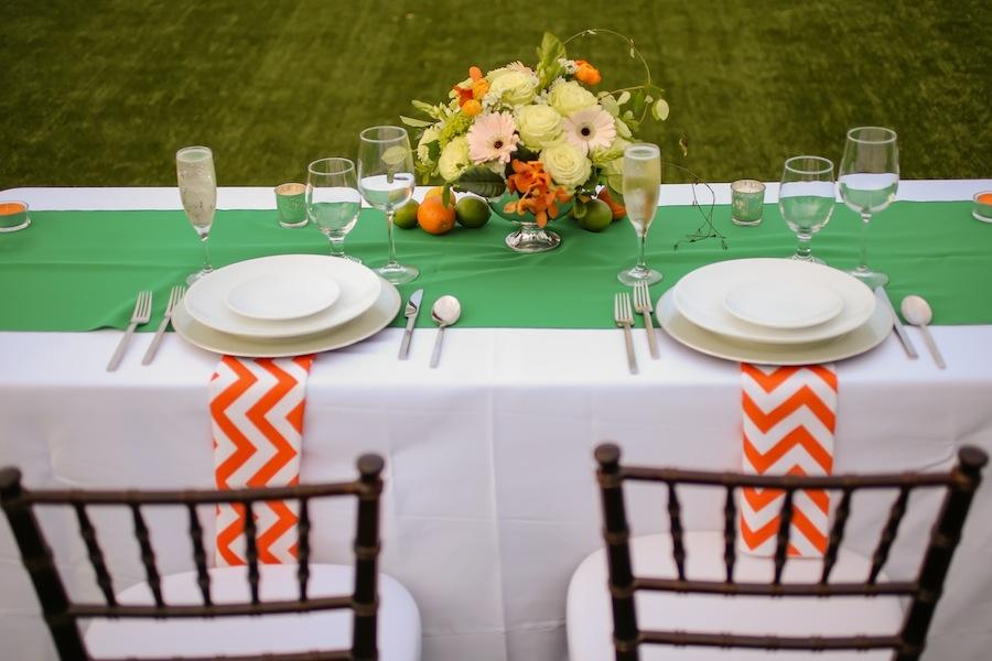 Lemon, Orange and Lime Wedding Centerpieces | Orange and Green Citrus Themed St. Pete Beach Wedding | Blue Skies Events