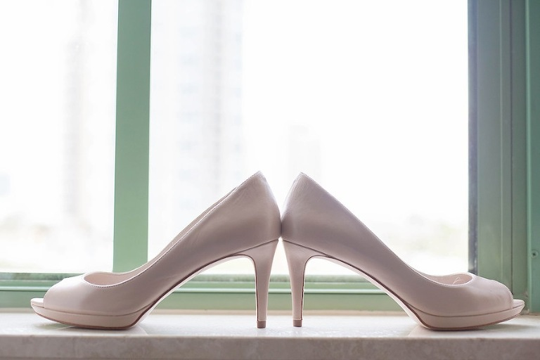 White Open Toed Wedding Shoes