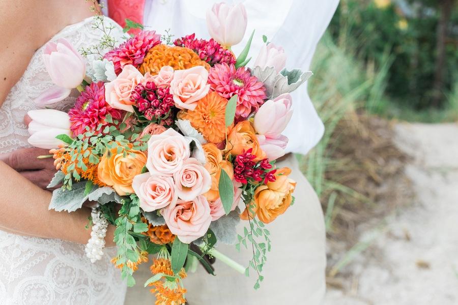 Orange and Pink Wedding Bouquet