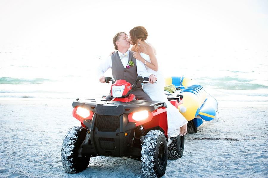 Clearwater Beach Wedding Portrait on Four Wheeler