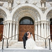 Bride and Groom Wedding Portrait at Sacred Heart Catholic Church | Melissa Lauren Images