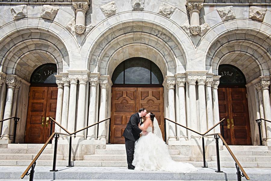 Bride and Groom Wedding Portrait at Sacred Heart Catholic Church   Melissa Lauren Images