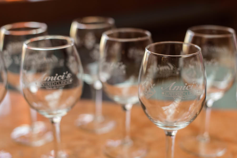 Engraved Wine Glasses   St. Petersburg Wedding Caterer Amici's Catering