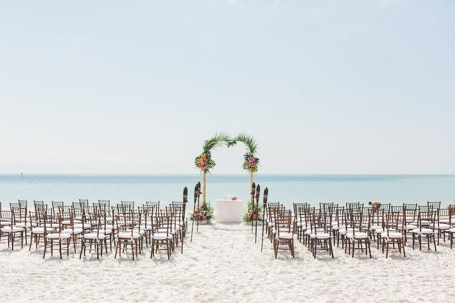 Destination Siesta Key Beach Wedding Ceremony | Tropical Beach Wedding Ceremony Decor