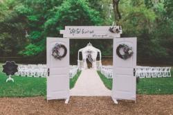 Vintage Outdoor White Wedding Door Entrance   Cross Creek Ranch Wedding