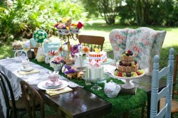 Alice in Wonderland Tea Party Bridal Shower with Pink Centerpieces and Vintage China Wedding Decor | Tampa Wedding Venue USF Botanical Gardens | Carrie Wildes Photography