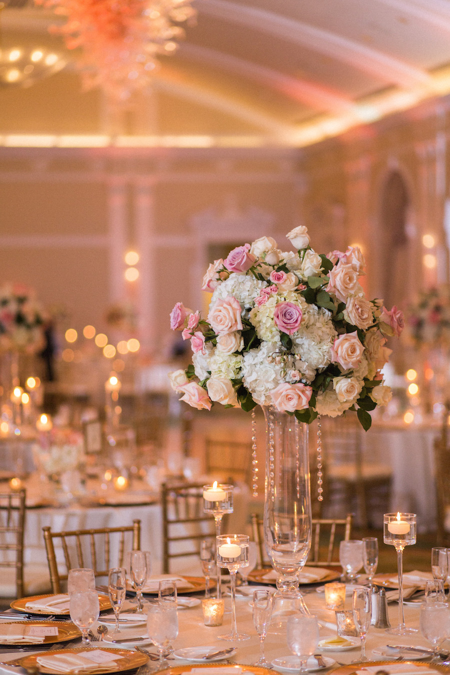 Wedding Reception Decor | Tall Rose Centerpieces with Glass Vases |Exquisite Events Tampa Bay Wedding and Event Planner