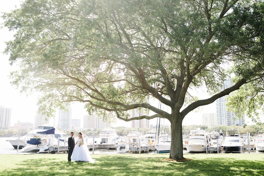 Downtown St. Pete Bride and Groom Wedding Portrait in Straub Park | St. Petersburg Wedding Photographer Sunglow Photography