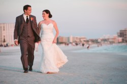 St. Pete Beach Wedding Portrait | Bride and Groom Walking on Florida Beach