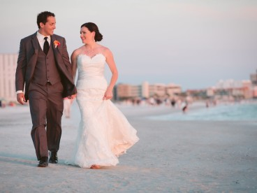St. Pete Beach Wedding Portrait | Bride and Groom Walking on Florida Beach