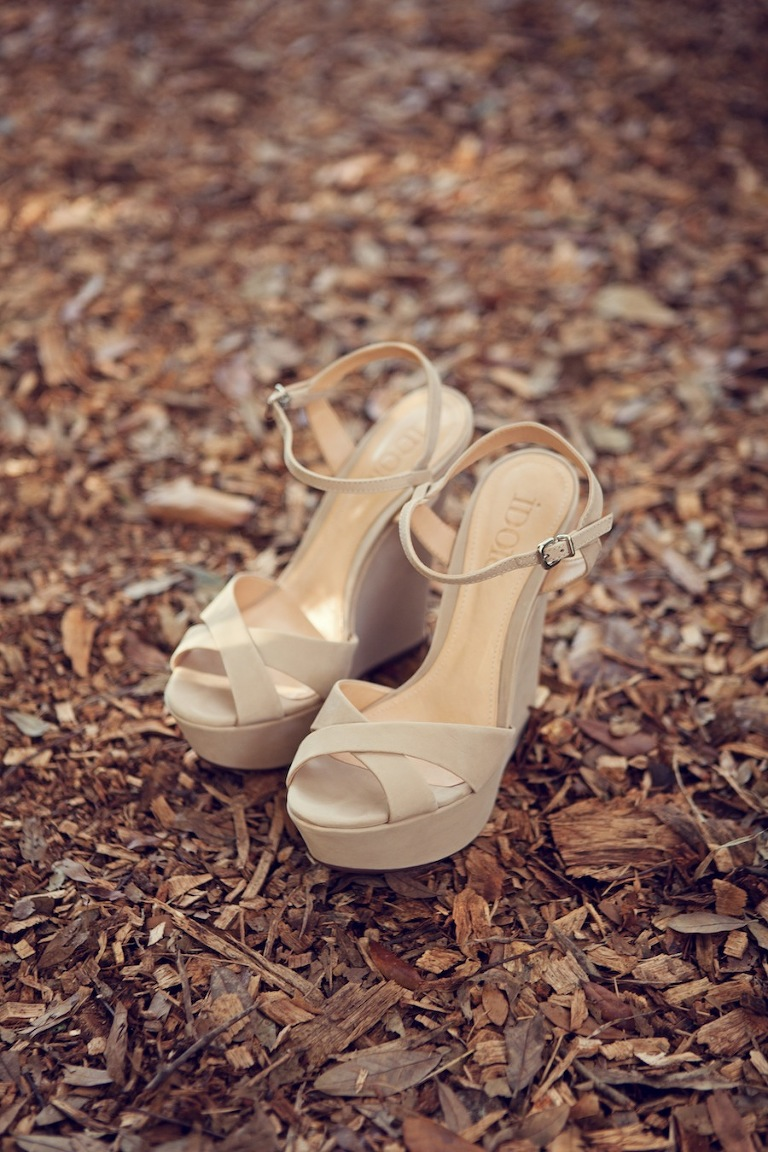 Tan, Nude Wedding Wedges | Open-Toe Strappy Wedding Shoes