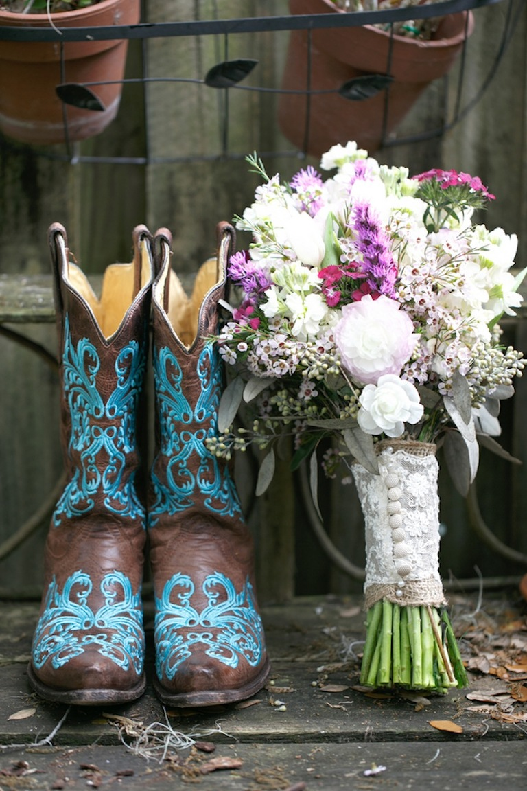 Teal Cowboy Boots and Rustic White and Purple Wedding Bouquet