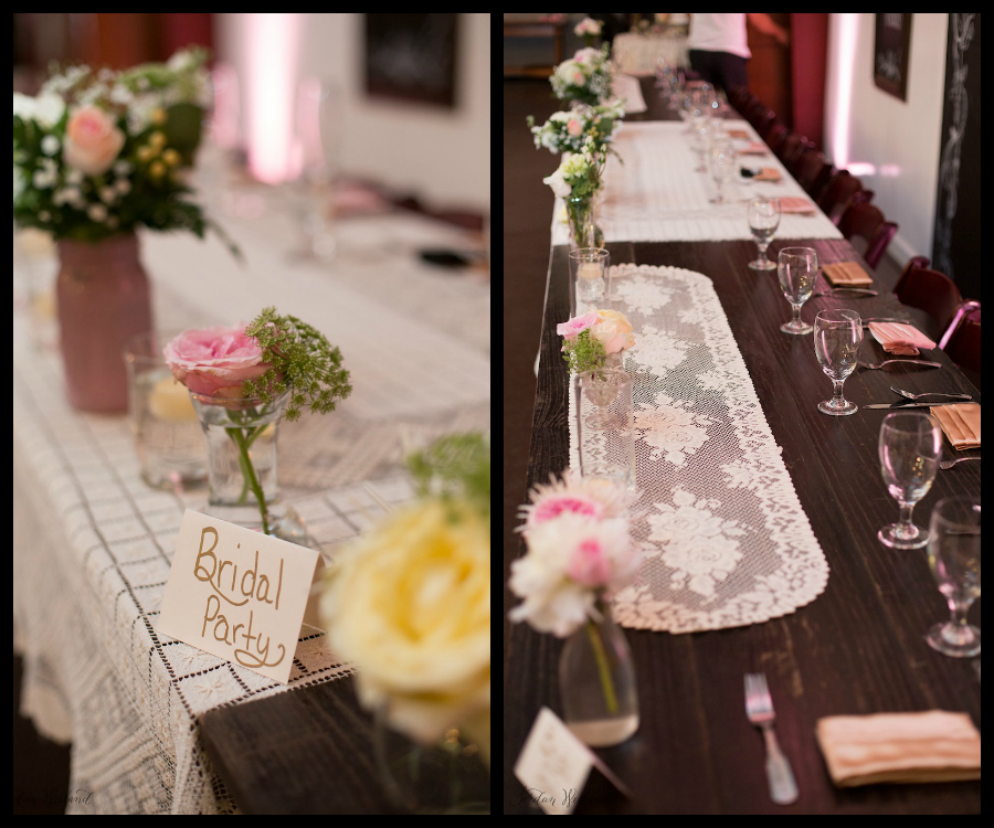 Rustic White And Blush Pink Wedding Centerpieces With Lace Linens