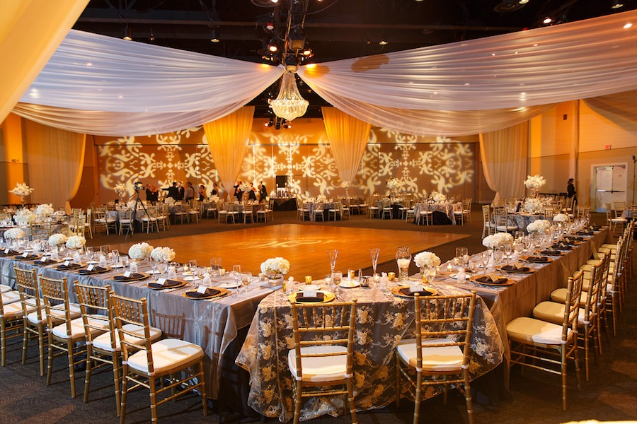Elegant Champagne and Ivory Wedding Centerpieces   A La Carte Pavilion Wedding Reception with Uplighting