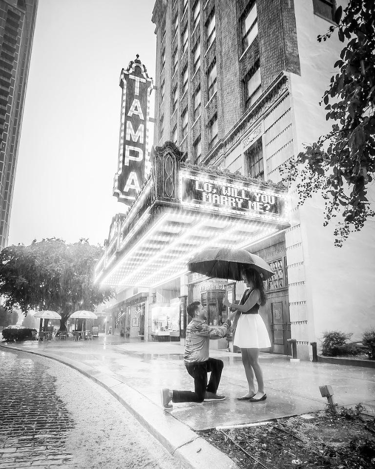Tampa Theatre Surprise Wedding Engagement | Rad Red Creative