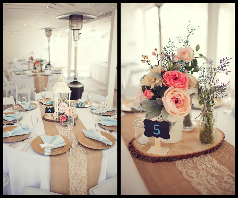 Pastel Light Blue And Pink Wedding Centerpieces Burlap And Lace