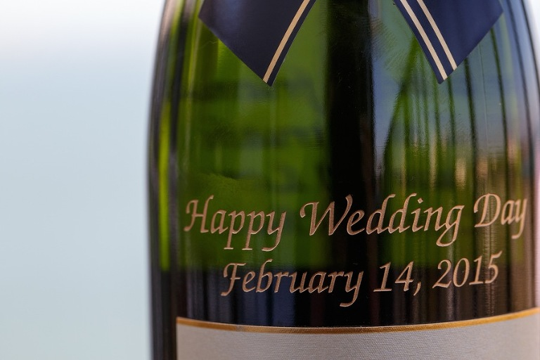 Engraved Wine Bottle with Wedding Date