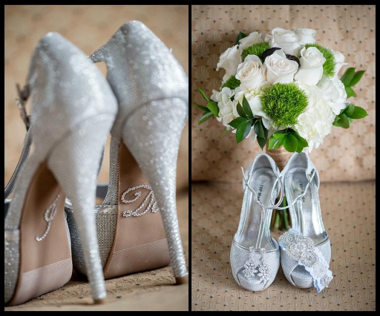 Silver Sparkle Rhinestone Wedding Shoes | White Rose Wedding Bouquet with Greenery