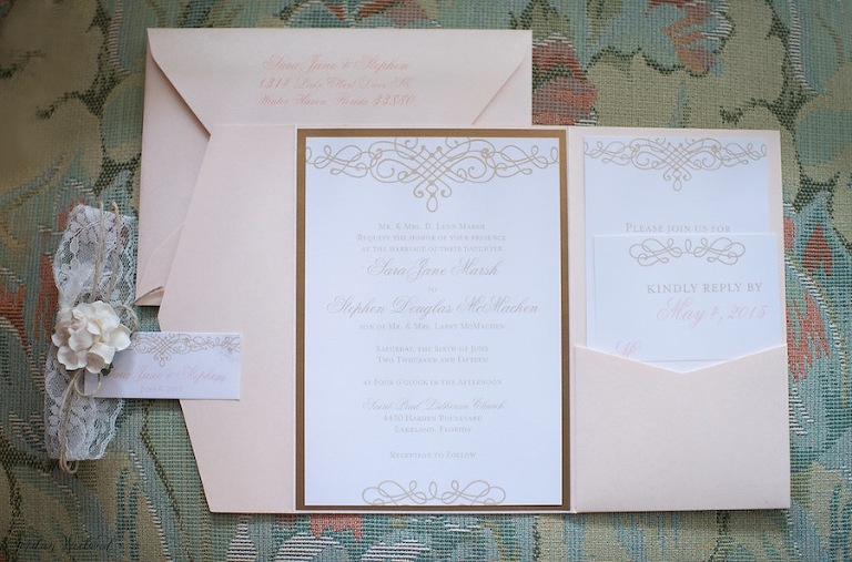 Light Pink, Blush and Gold Wedding Invitiations