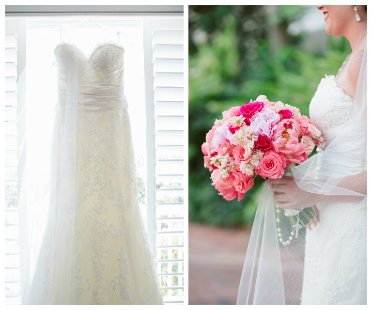 Lace Sweetheart Wedding Dress by Justin Alexander | Pink and Coral Wedding Bouquet