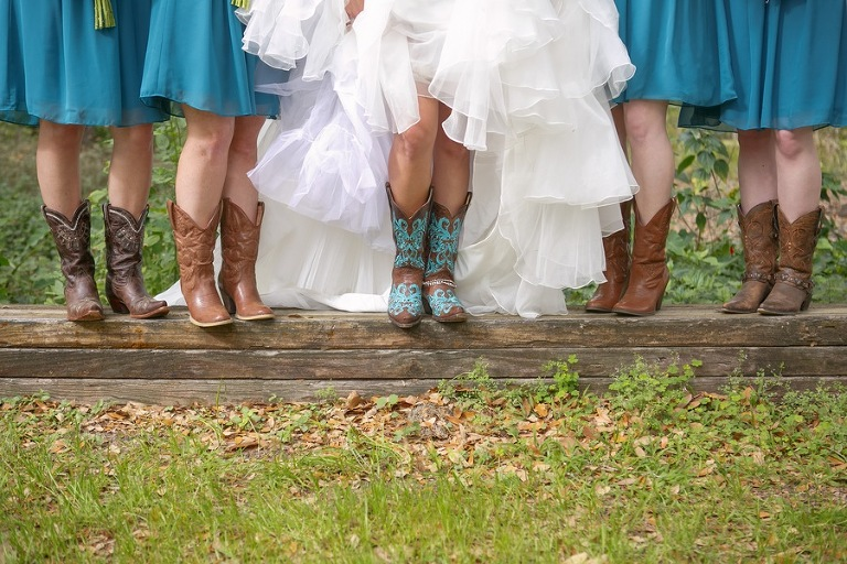 Bridesmaids & Bride in Cowboy Boots | Rustic Tampa Bay Wedding Cross Creek Ranch